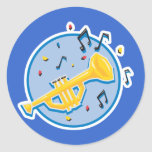 trumpet and music notes classic round sticker