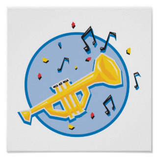 trumpet and music notes poster