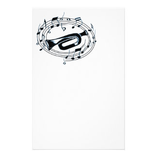 Trumpet and Musical Notes Stationery