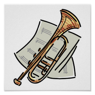 trumpet and sheet music poster
