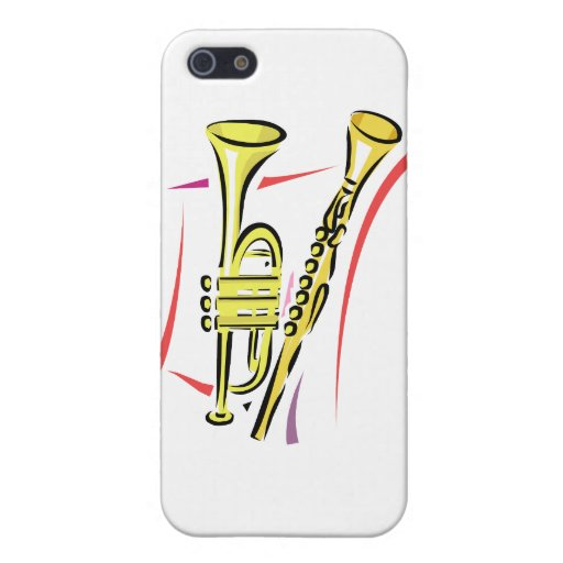 Trumpet and  Soprano Sax Graphic Image Yellow iPhone 5 Cases