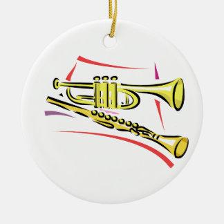 Trumpet and  Soprano Sax Graphic Image Yellow Round Ceramic Decoration