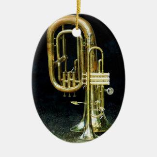 Trumpet And Tuba Ceramic Oval Decoration