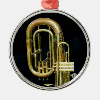 Trumpet And Tuba Silver-Colored Round Decoration