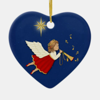 Trumpet Angel and Christmas Star - 2 Sided Ceramic Heart Decoration