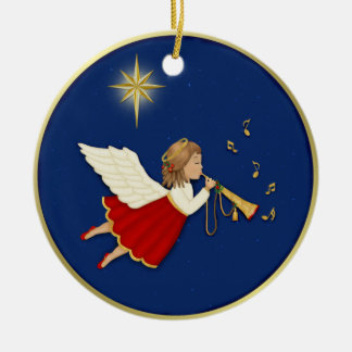 Trumpet Angel and Christmas Star Round Ceramic Decoration