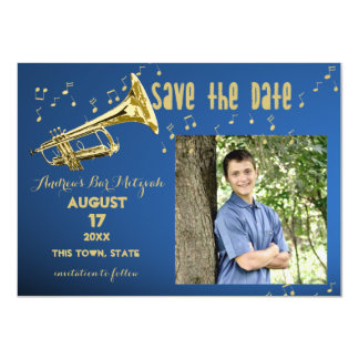 Trumpet Bar Mitzvah Save the Date Card