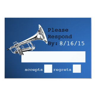 Trumpet Blue and Silver Response 3.5x5 Paper Invitation Card