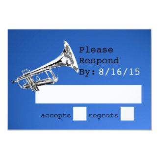 Trumpet Blue Response 9 Cm X 13 Cm Invitation Card