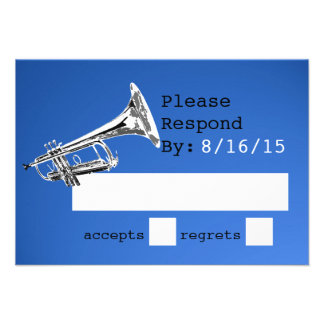 Trumpet Blue Response Personalized Invitation