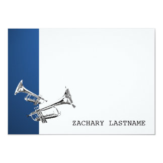Trumpet Blue Silver Thank You Flat Card 11 Cm X 16 Cm Invitation Card