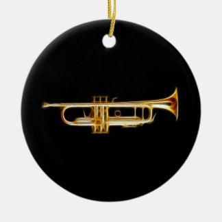 Trumpet Brass Horn Wind Musical Instrument Round Ceramic Decoration