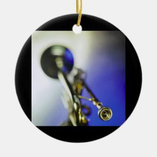Trumpet Close-Up Round Ceramic Decoration