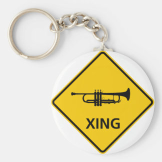 Trumpet Crossing Highway Sign Key Ring