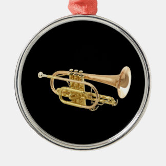 """Trumpet"" design gifts and products Silver-Colored Round Decoration"