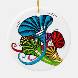 Trumpet doodle round ceramic ornament