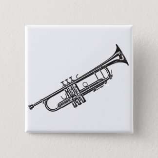 "Trumpet ""Drawing"" 15 Cm Square Badge"