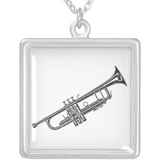 "Trumpet ""Drawing"" Silver Plated Necklace"