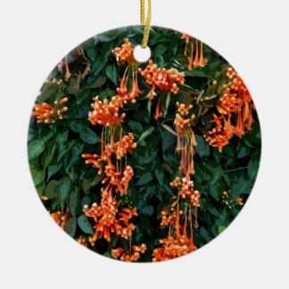 Trumpet Flowers Round Ceramic Decoration