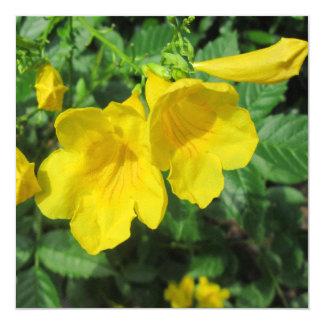 "Trumpet Garden Flower Yellow 5.25"" Square Invitation Card"