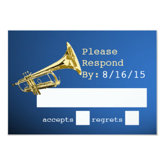 """Trumpet Gold and Blue Response 3.5"""" X 5"""" Invitation Card"""