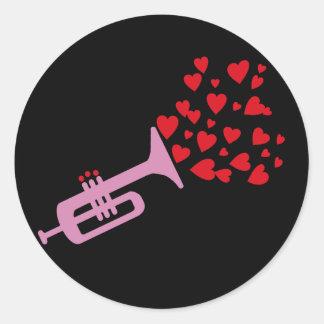 Trumpet Hearts Classic Round Sticker
