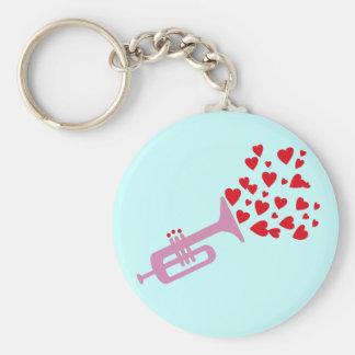 Trumpet Hearts Key Ring
