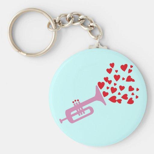 Trumpet Hearts Keychain