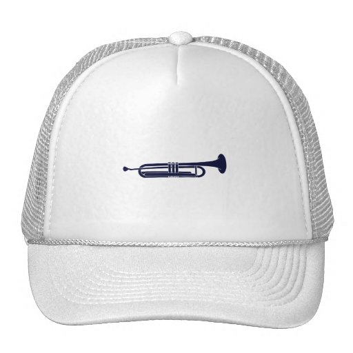Trumpet Horizontal Solid Blue Musician Graphic Mesh Hat