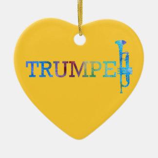 Trumpet in Rainbow Colors Ceramic Heart Decoration