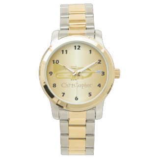 Trumpet Just Add Name Gold Coloured Watch