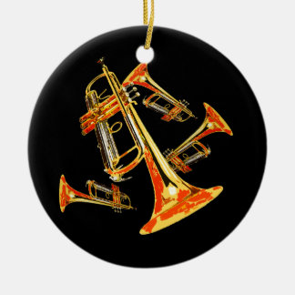 Trumpet Mania Band Photo Round Ceramic Decoration