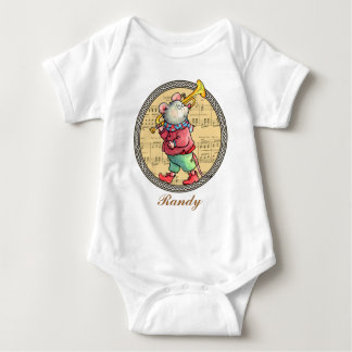 Trumpet Mouse on Sheet Music - Baby T-shirt