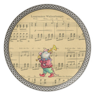 Trumpet Mouse on Sheet Music - Plate