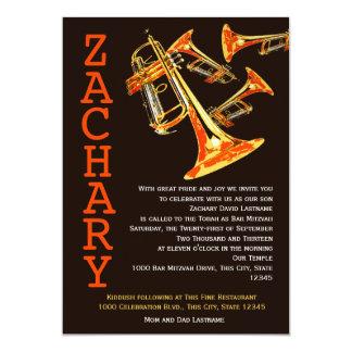 Trumpet Music Bar Mitzvah 13 Cm X 18 Cm Invitation Card
