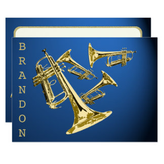 Trumpet Music Gold and Blue Thank You Flat Card