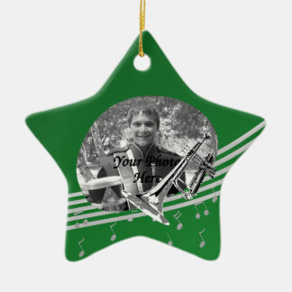 Trumpet Music Green Star Christmas Ornament