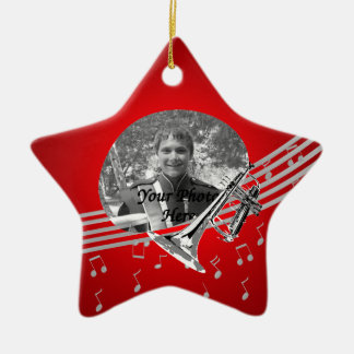 Trumpet Music Red Christmas Ornament