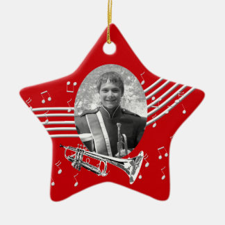 Trumpet Music Red Star Christmas Ornament