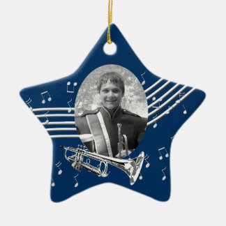 Trumpet Music Star Blue Christmas Ornament