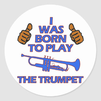 trumpet Musical designs Classic Round Sticker