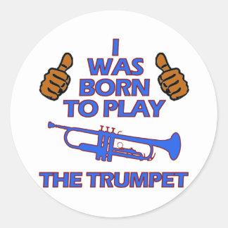 trumpet Musical designs Round Sticker