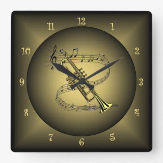 Trumpet ~Musical Instrument ~Musical Scale ~Globe~ Square Wall Clock