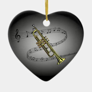 Trumpet Musical Scale ~ Black ~ Gray Background Christmas Ornament