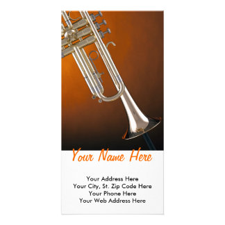Trumpet on Gold Customized Photo Card