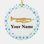 Trumpet Personalised Music Band Christmas Round Ceramic Decoration