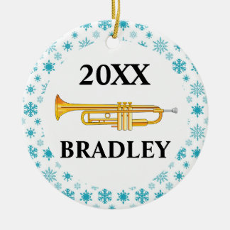 Trumpet Personalized Band Christmas Gift Round Ceramic Decoration