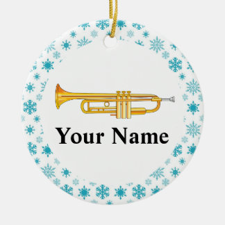 Trumpet Personalized Music Band Christmas Round Ceramic Decoration
