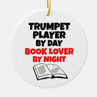 Trumpet Player by Day Book Lover by Night Christmas Ornament