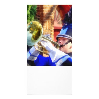 Trumpet Player in Marching Band Photo Cards